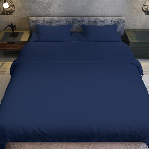 Luxury Color Bed Sheet Set – King (Navy Blue – 4 Piece)