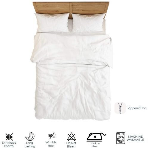 Duvet Cover – Plain White Zipper Design
