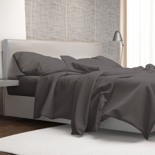 Luxury Color Bed Sheet Set – Double (Grey – 4 Piece)