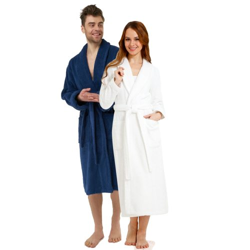 Terry White & Blue Bathrobe Gift Set